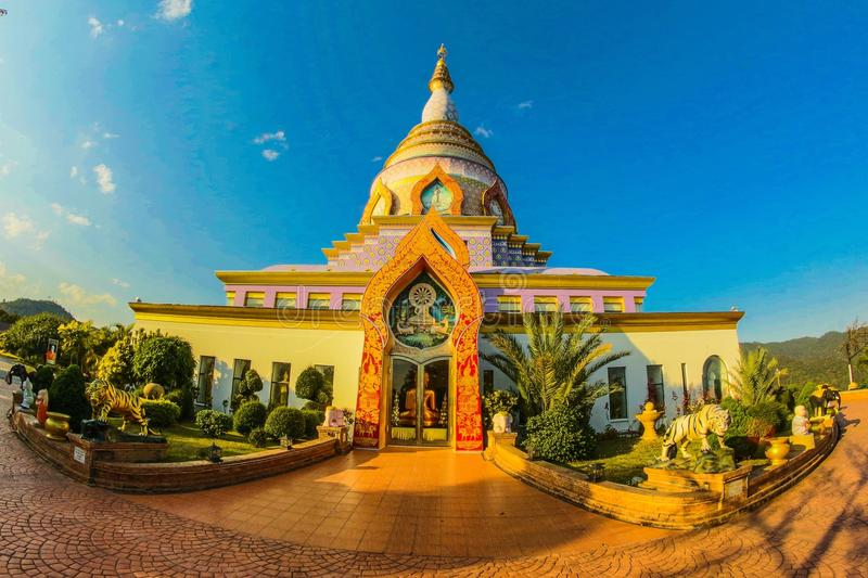 White Buddhist Temple With Blue Cloudy Background royalty free stock photos