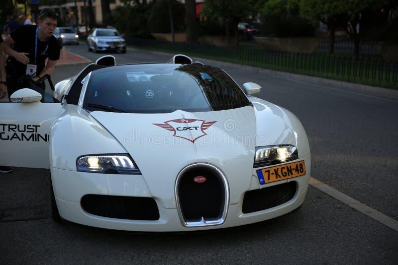 White Bugatti Veyron 16.4 Grand Sport royalty free stock photo