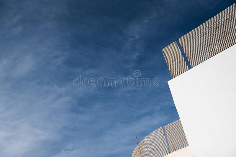 White building against the sky.  stock photography