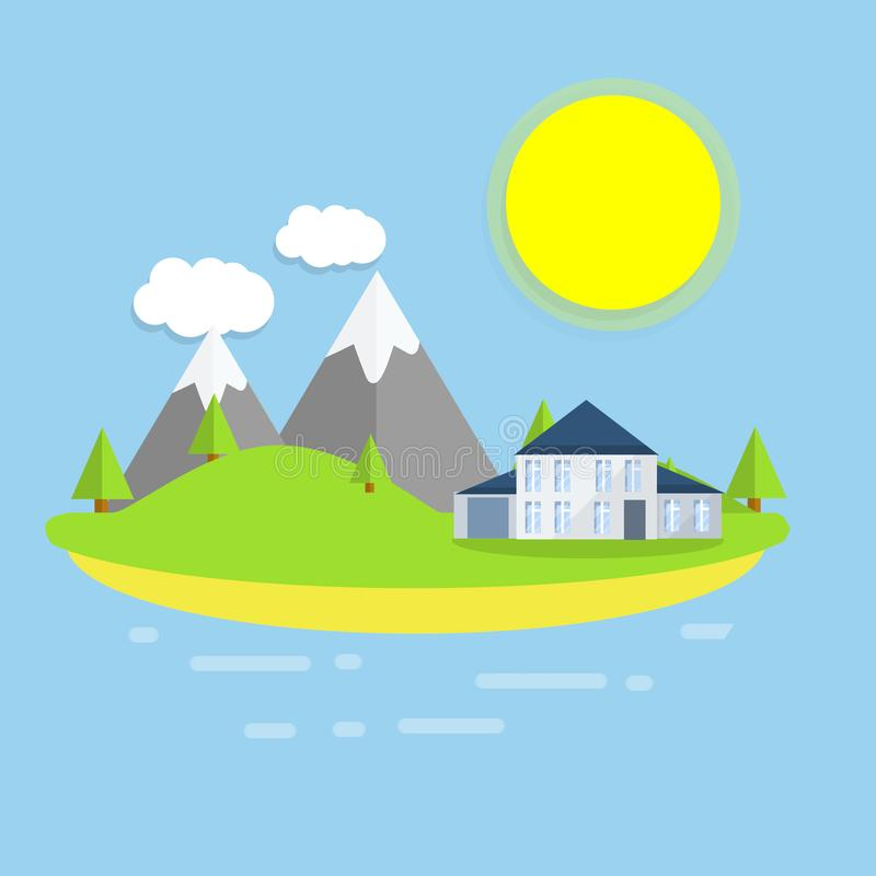 Hotel house on the island. Outdoor recreation - cartoon flat illustration. White building on a green lawn. Forest, clouds and sun - a natural landscape. Sea view stock illustration