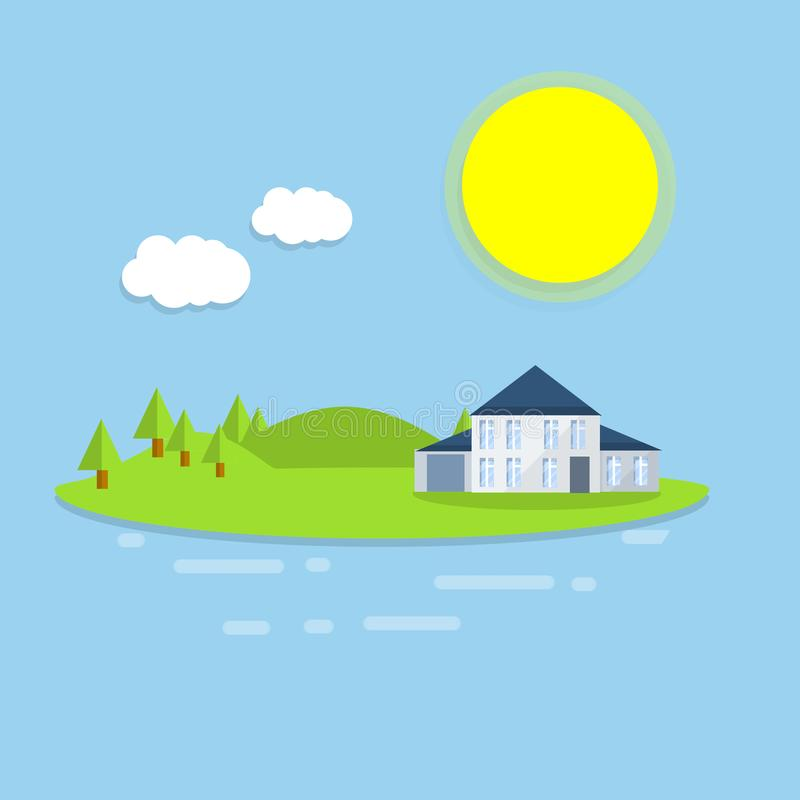 Hotel house on the island. Outdoor recreation - cartoon flat illustration. White building on a green lawn. Forest, clouds and sun - a natural landscape. Sea view royalty free illustration