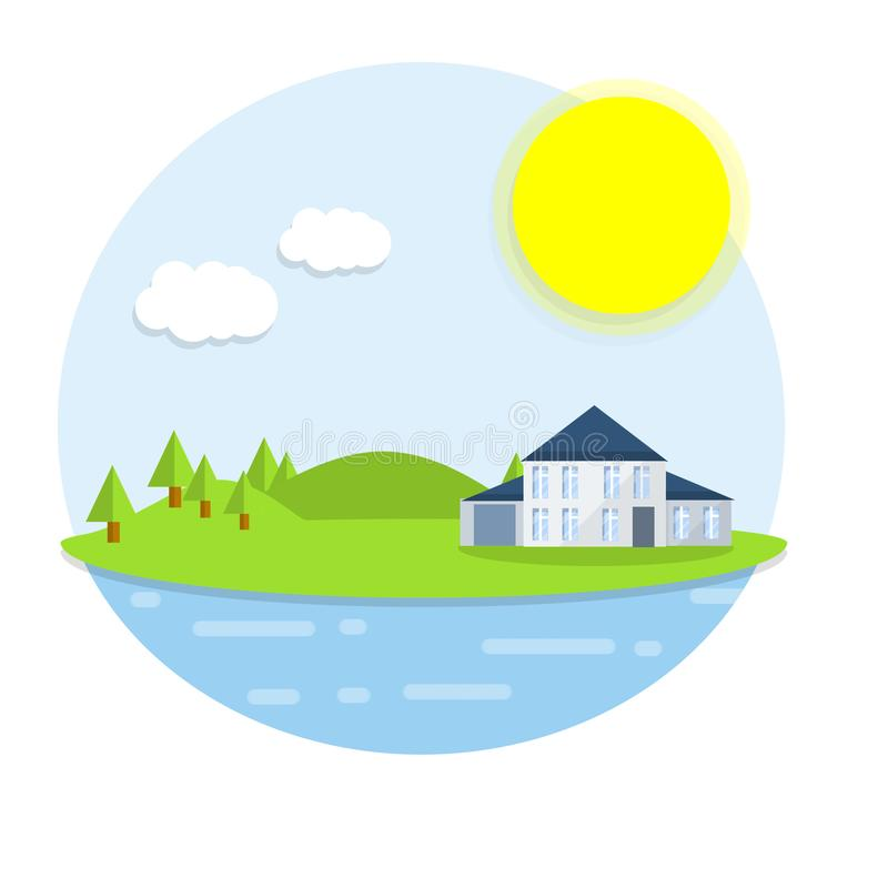 Hotel house on the island. Outdoor recreation - cartoon flat illustration. White building on a green lawn. Forest, clouds and sun - a natural landscape. Sea view vector illustration