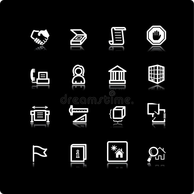 White building icons. On the black background stock illustration