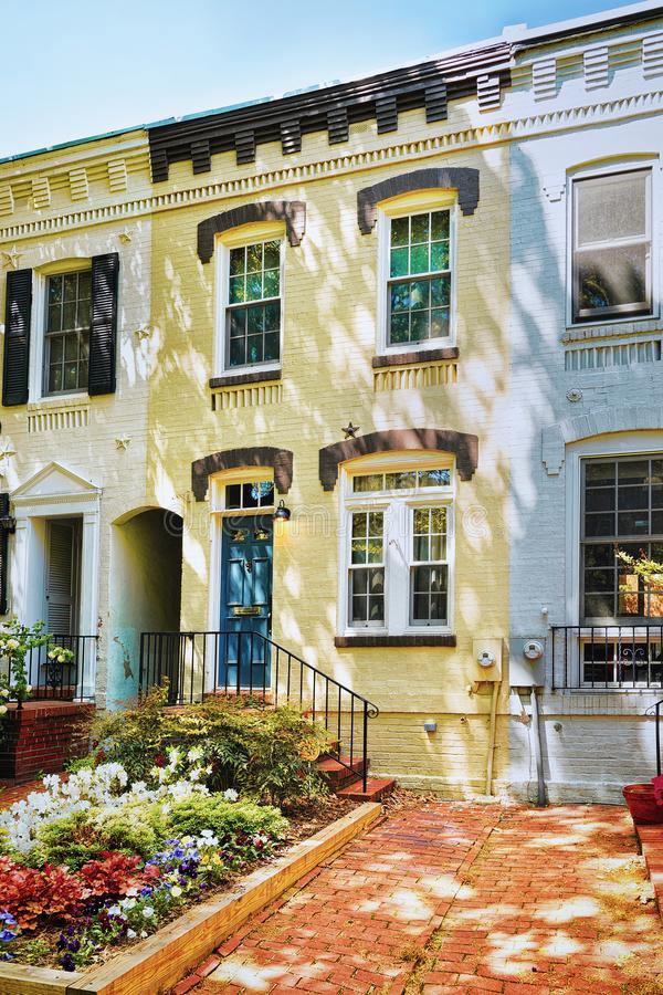 White building pictured in Georgetown neighborhood Washington DC stock photo
