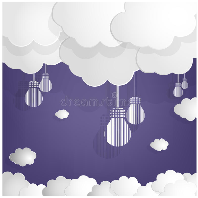 White Bulbs And Clouds On Blue Sky Background Stock Photography