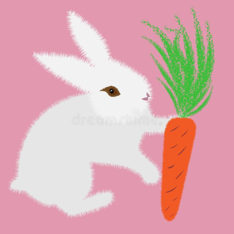 White bunny with carrot for decoration design. Animal illustration. Pink background. Cute vector illustration stock illustration
