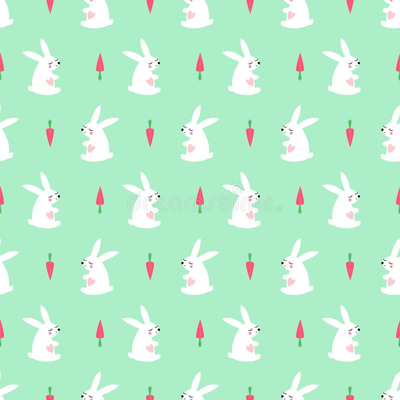 White bunny with carrot seamless pattern mint green background. royalty free stock images