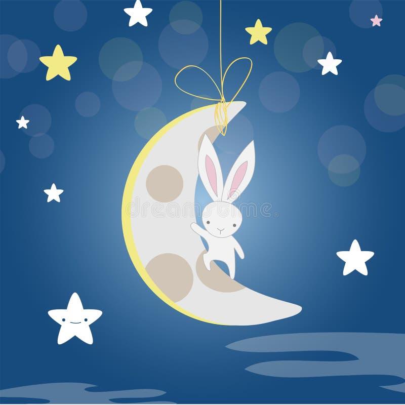 White Bunny moon night royalty free stock photo