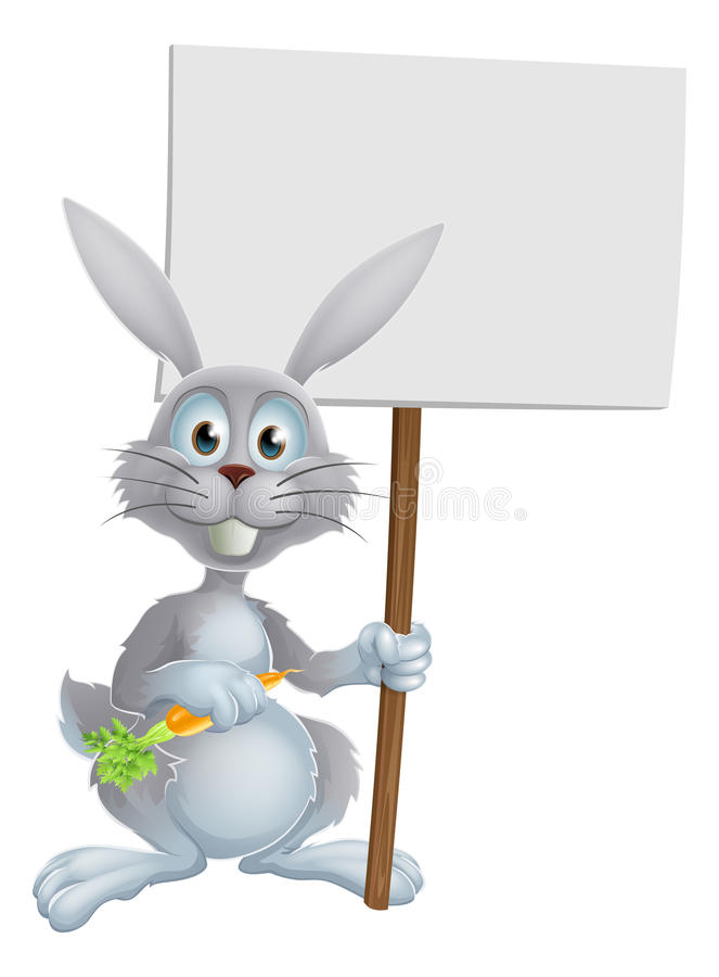 White bunny rabbit with carrot sign. White bunny rabbit with a tasty carrot and holding a blank sign vector illustration