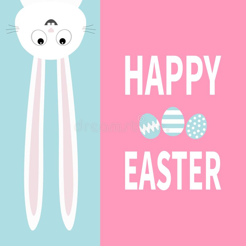 White bunny rabbit hanging upside down Big paper signboard. Cute cartoon funny animal. Happy Easter. Lettering text. Painting egg. stock illustration