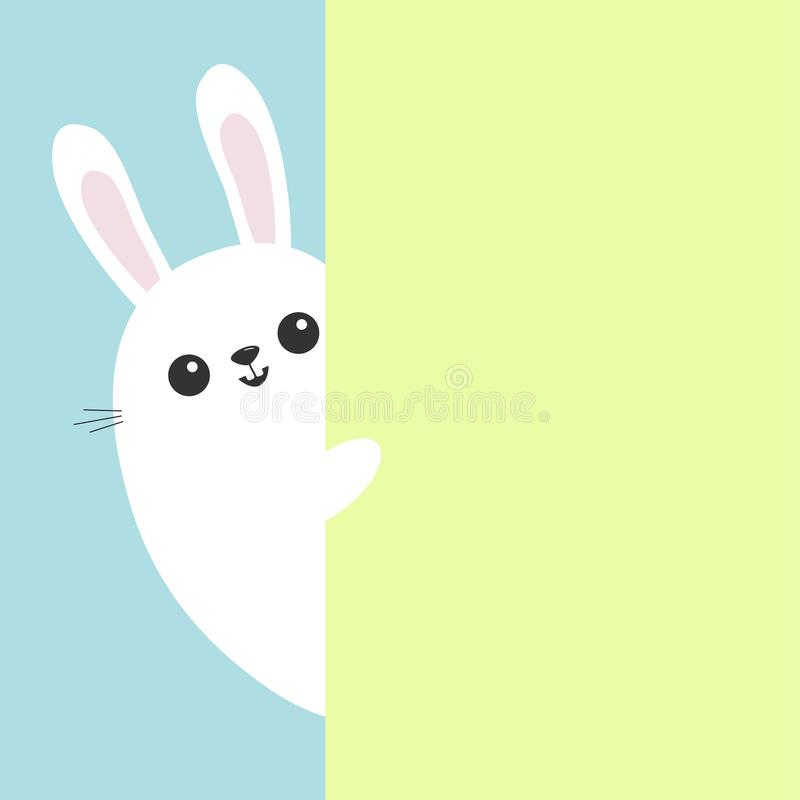 White bunny rabbit holding green wall signboard. Cute cartoon funny animal hiding behind paper. Happy Easter symbol. Peekaboo. Fla stock illustration