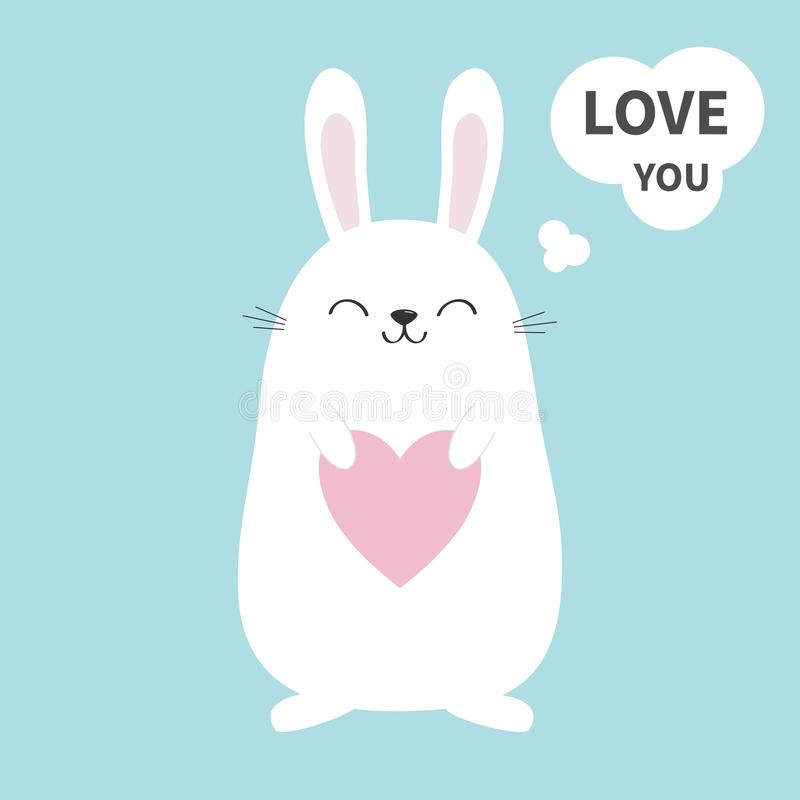 White bunny rabbit holding heart. Talking thinking bubble. Love you sticker. Funny head face. Cute kawaii cartoon character. Baby royalty free illustration