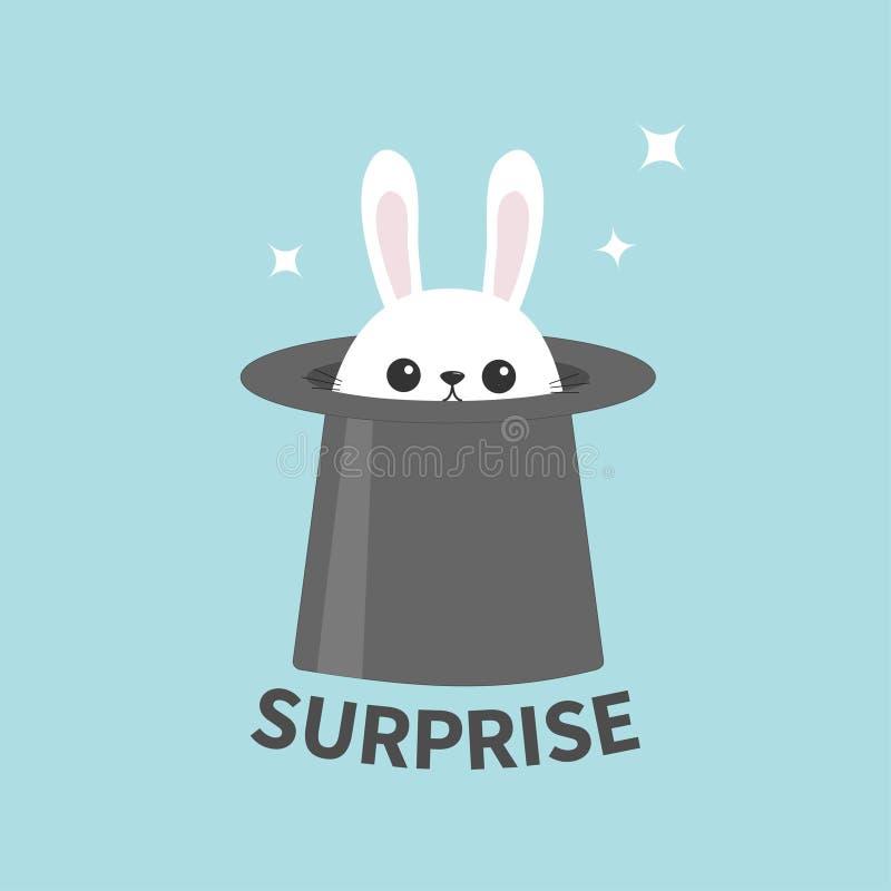 White bunny rabbit in magic hat. Sining stars. Funny head face icon. Surprise. Big ears. Cute kawaii cartoon character. Baby greet stock illustration