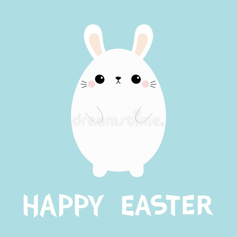 White bunny rabbit. Painting egg shape. Happy Easter. Funny head face. Big ears. Cute kawaii cartoon character. Baby greeting card royalty free illustration