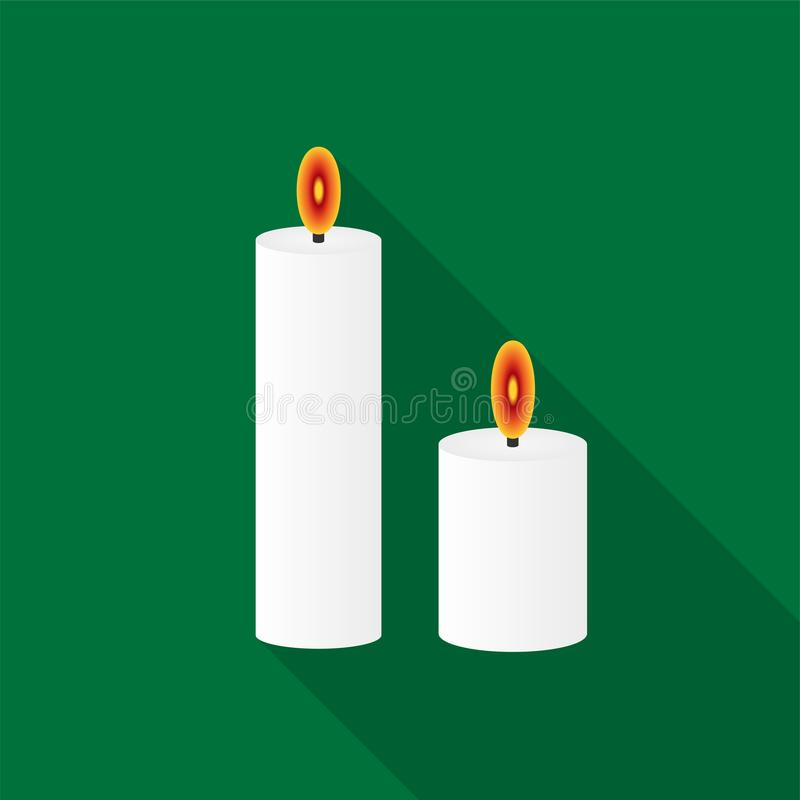 White burning candles icons with long shadow on green background. vector illustration