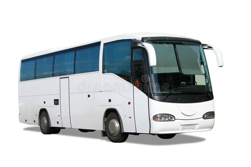 White bus stock photos