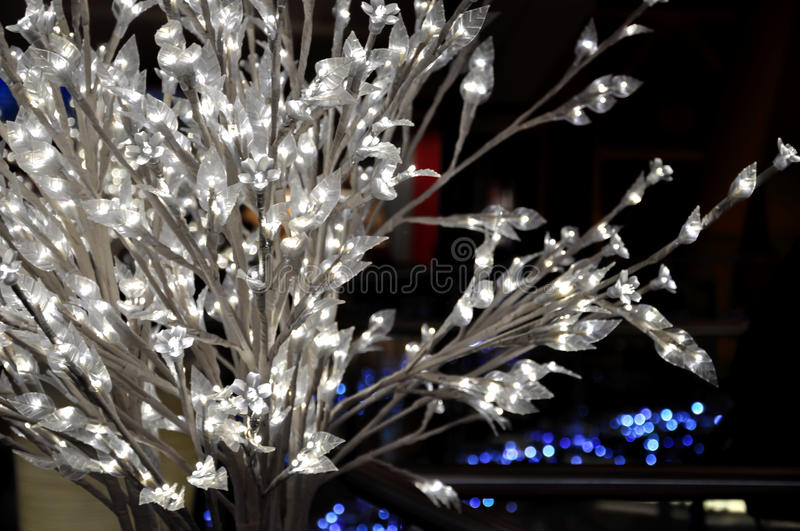 White bush with glowing lights. stock images