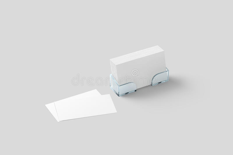White business card mockup in acrylic holder isolated stock illustration