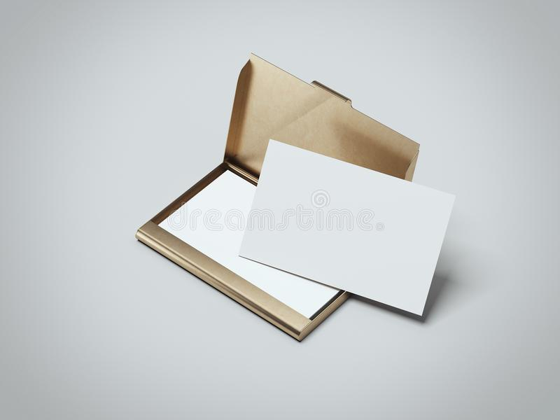 White business cards with golden holder. 3d rendering. White business cards with golden holder in gray background. 3d rendering royalty free illustration
