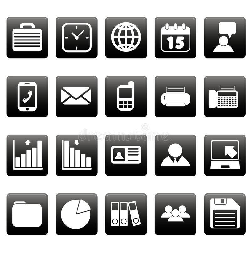 White business icons on black squares royalty free illustration