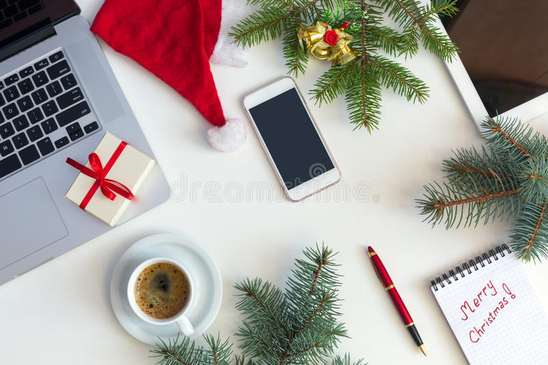 Download White Business Table Top View Christmas Items And Electronic Gadgets Stock Image