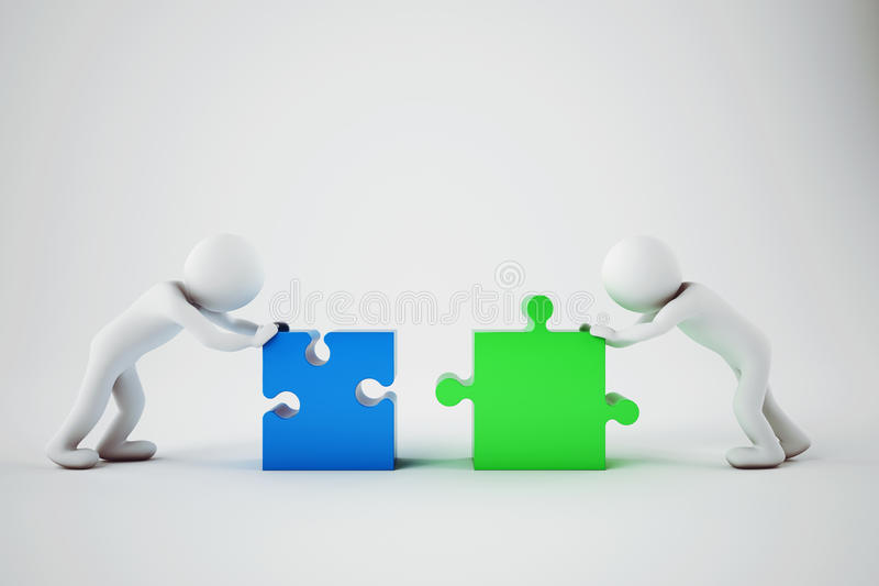White businesspeople build a company. Concept of parthership and teamwork. 3D rendering. vector illustration