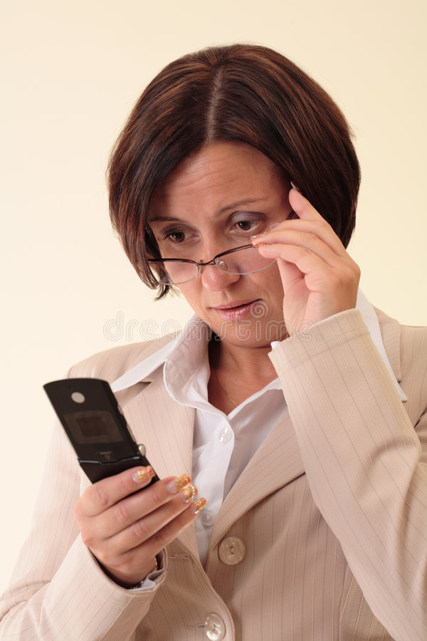 Download White Businesswoman With Handy Stock Image - Image: 3724071