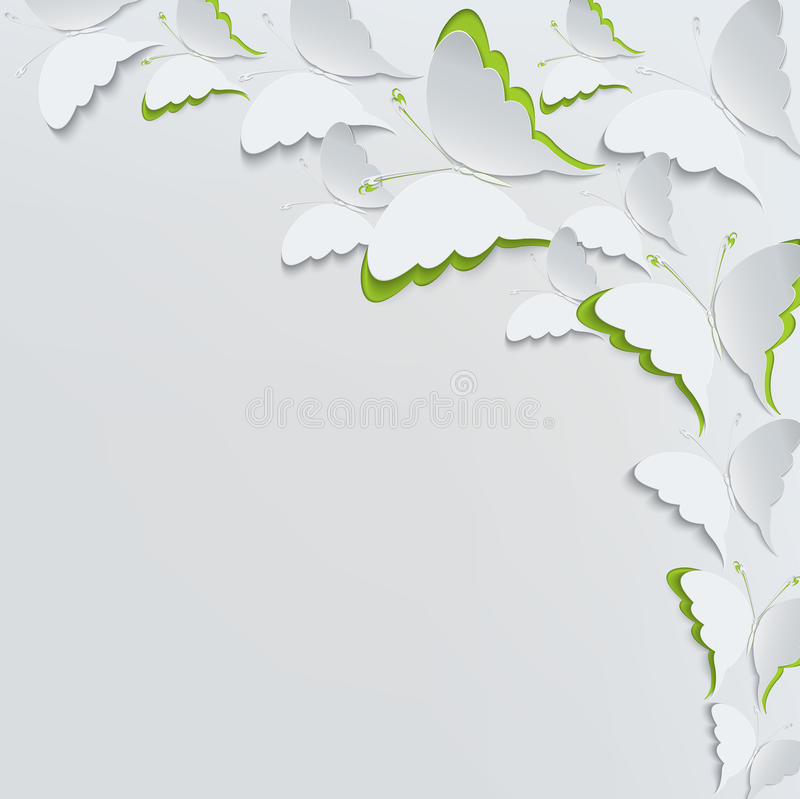 Download White Butterflies On A White Background Stock Vector - Illustration: 39251116
