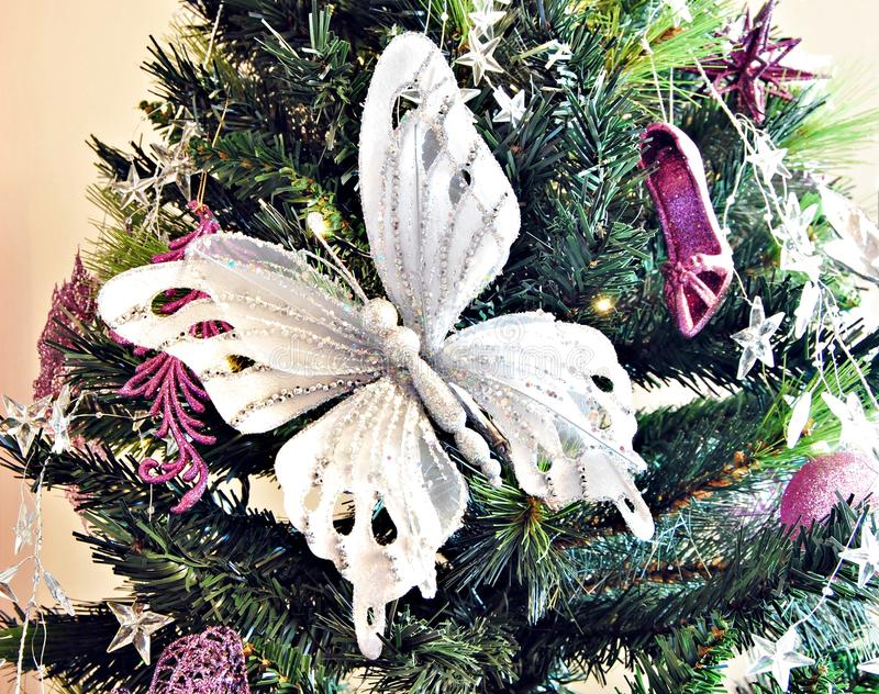 butterfly christmas tree white butterfly on a christmas tree stock image image 1389