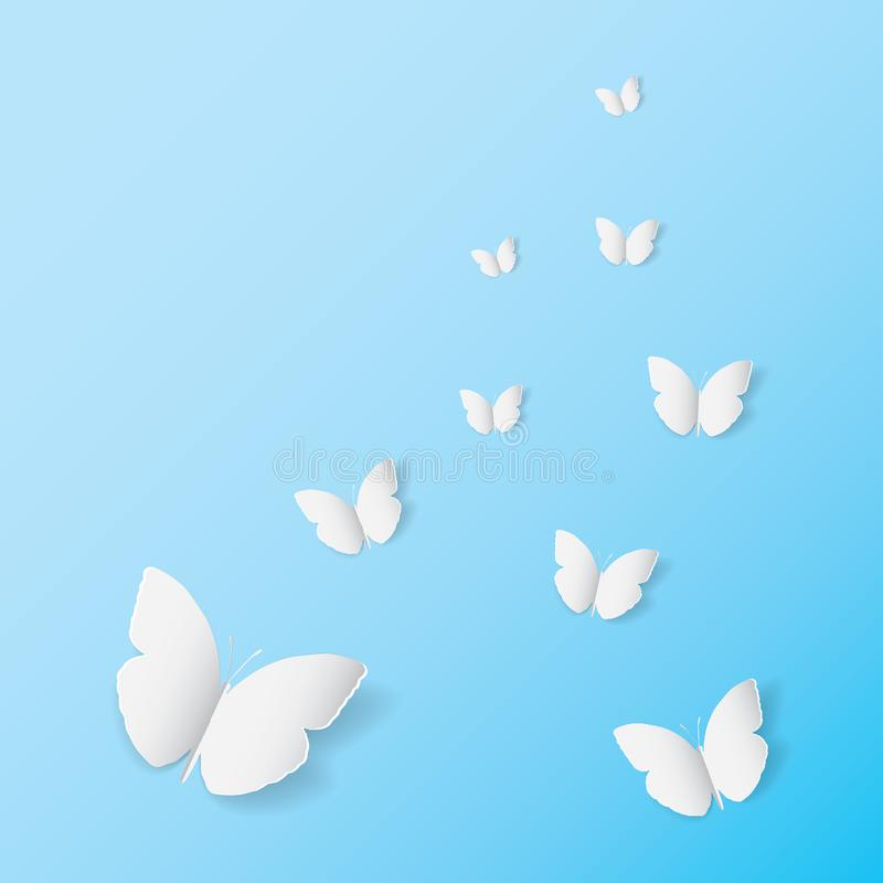White butterfly paper art icon on blue banner background stock illustration