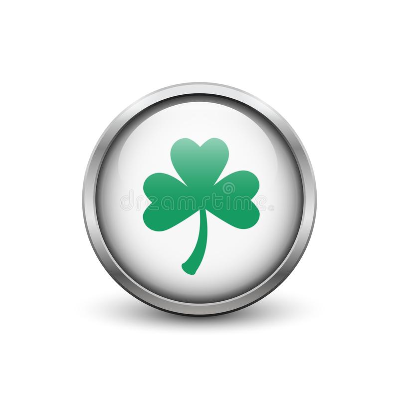 White button with green three leaf clover royalty free stock photo