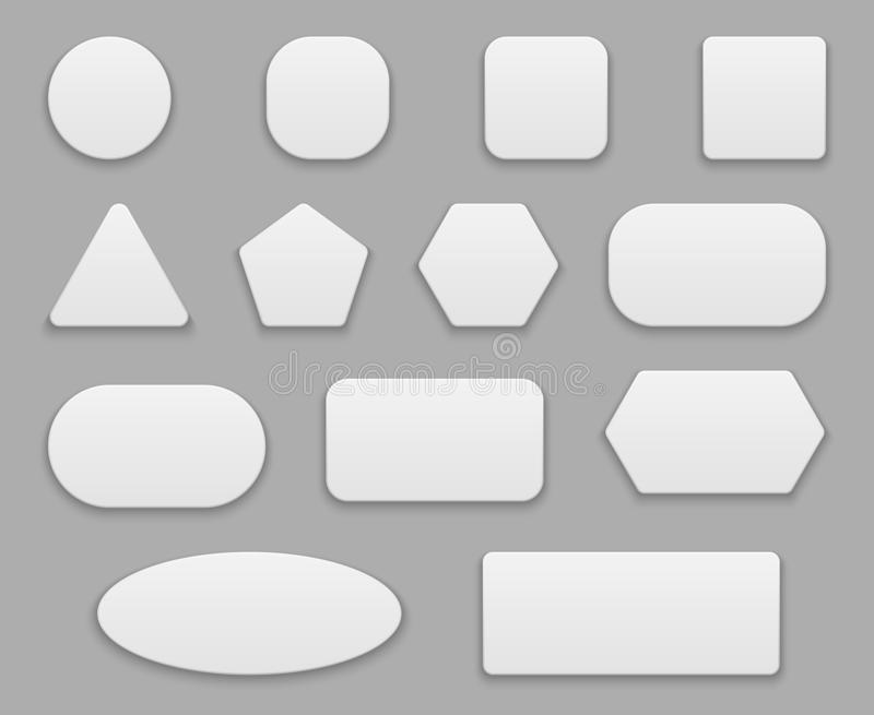 White buttons. Blank tags, white clear badge. Round square circle application button plastic 3d vector isolated shapes stock illustration