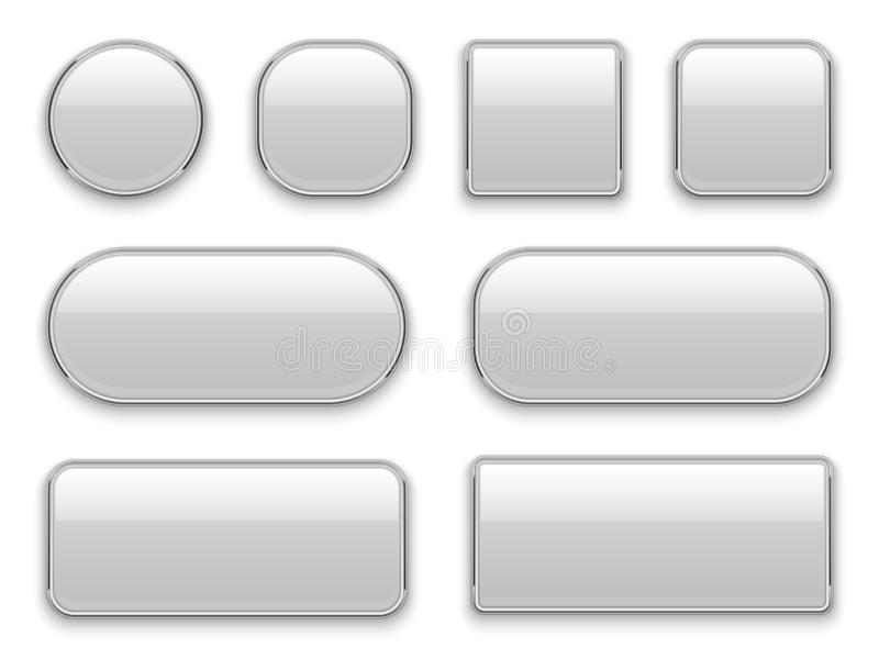 White buttons chrome frame. 3d realistic web glass elements oval rectangle square circle chrome white button interface stock illustration