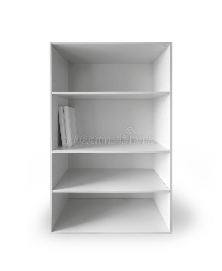 White cabinet with empty shelves on white. White cabinet with empty shelves and two books above white background with soft shadow stock images