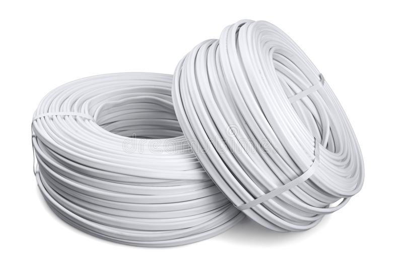 White computer cables on white background stock images