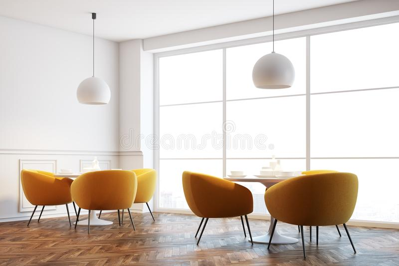 White cafe interior, orange chairs close up. White cafe interior with a wooden floor, white round tables and soft orange chairs near them. Close up. 3d rendering royalty free illustration