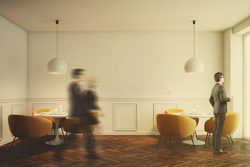 White cafe interior with orange chairs toned. White cafe interior with a wooden floor, white round tables and soft orange chairs near them. Front view. People stock illustration