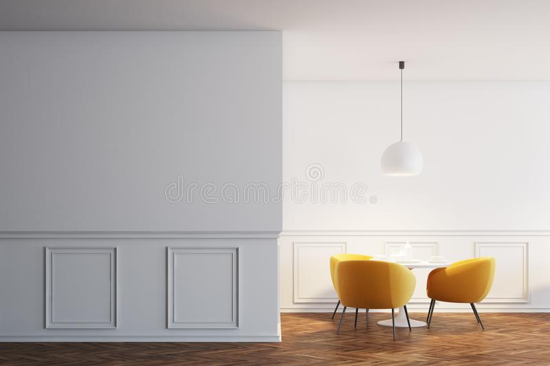 White cafe interior, orange chairs, wall. White cafe interior with a wooden floor, white round tables and soft orange chairs near them. Blank white wall. 3d vector illustration