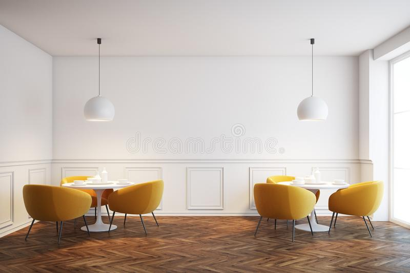 White cafe interior with orange chairs. White cafe interior with a wooden floor, white round tables and soft orange chairs near them. Front view. 3d rendering royalty free illustration