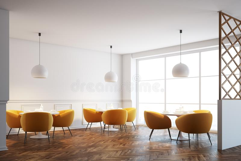 White cafe interior, orange chairs. White cafe interior with a wooden floor, white round tables and soft orange chairs near them. 3d rendering mock up vector illustration