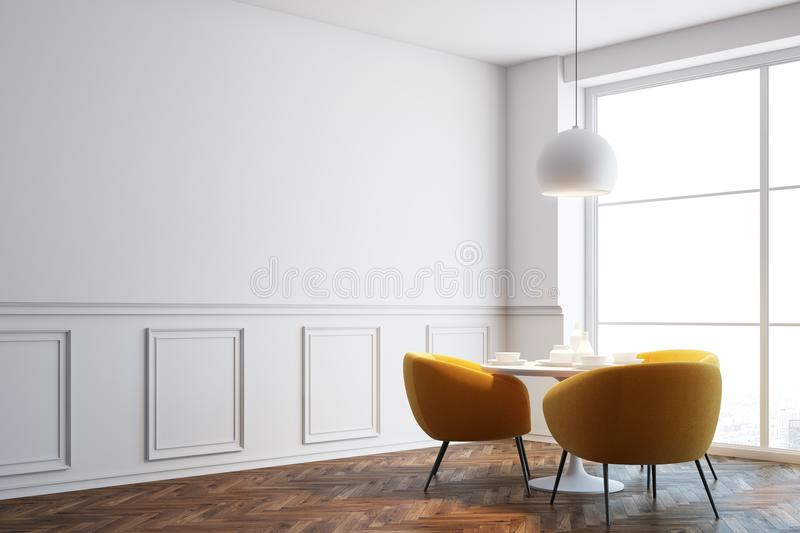 White cafe corner, orange chairs close up. White cafe interior with a wooden floor, white round tables and soft orange chairs near them. Blank white wall. Close vector illustration