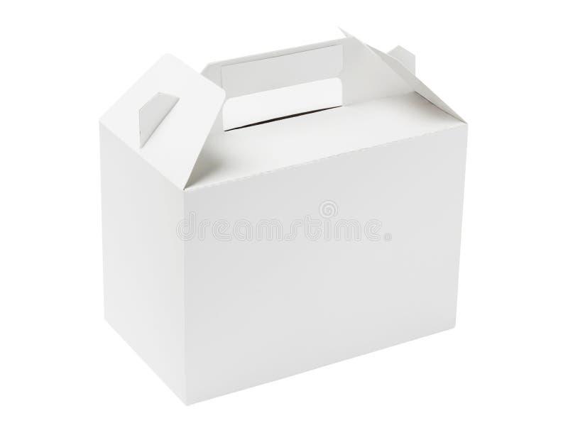 White Cake Box. Takeaway Cake Box On White Background royalty free stock image