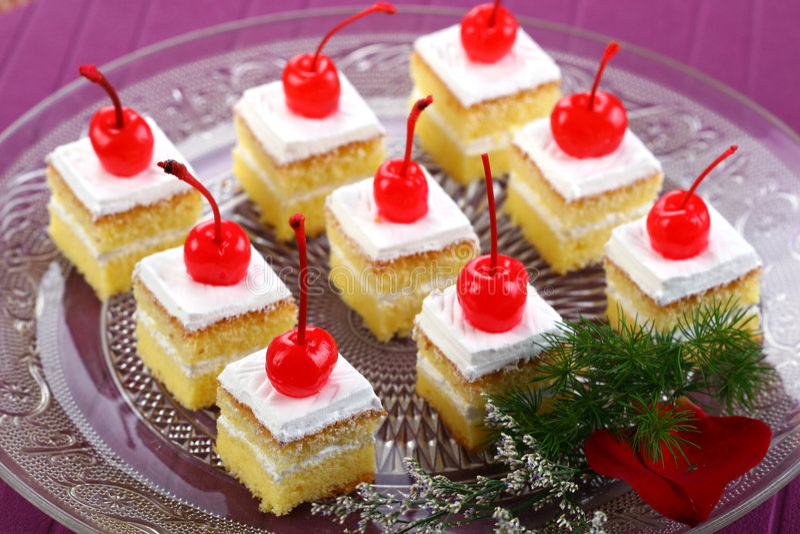 White Cake With Cherries Royalty Free Stock Photo