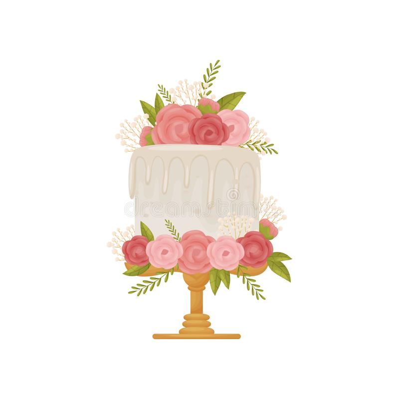 White cake with white icing on wooden stand with leg. Vector illustration on white background. White cake with white icing on wooden stand with leg. Decorated royalty free illustration