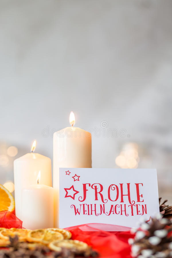White candles and christmas card stock photos