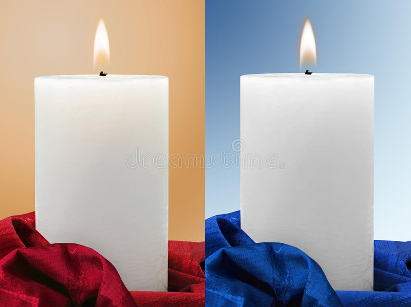 White Candles on different backgrounds stock image