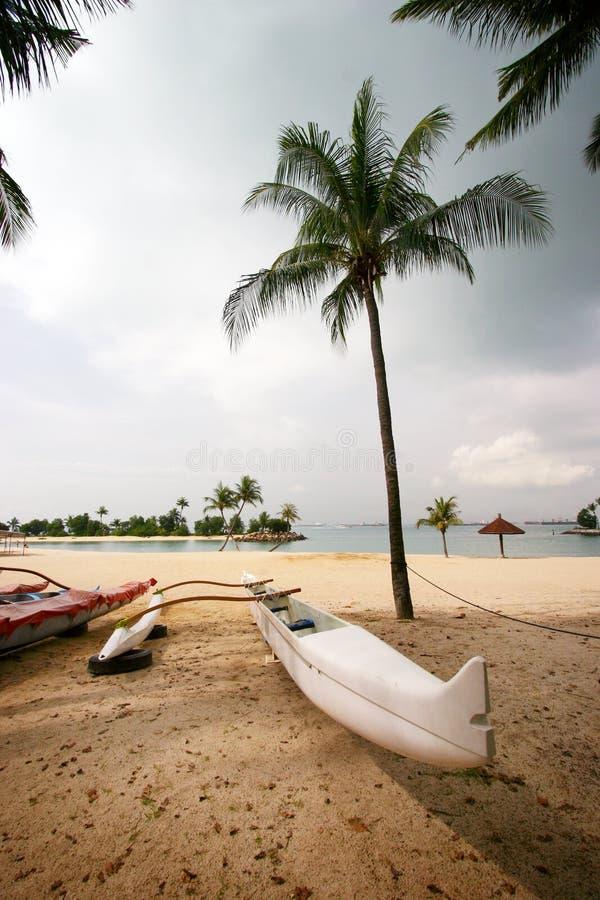 White canoe on tropical beach royalty free stock photo