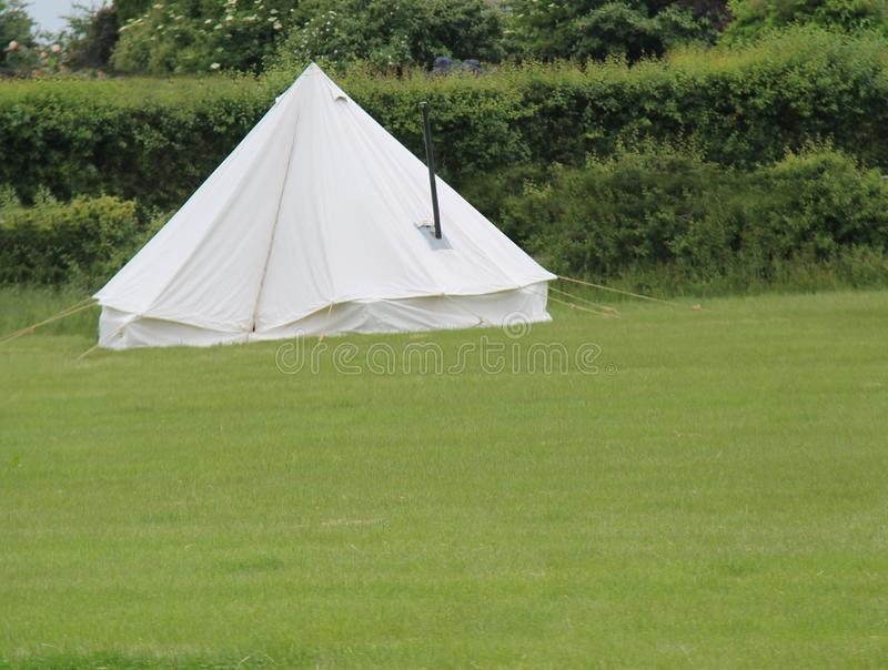White Canvas Bell Tent. royalty free stock photography