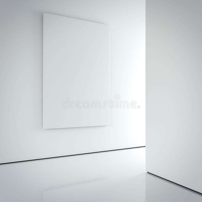 White canvas on the bright wall in gallery. 3d rendering. White blank canvas on the bright wall in modern gallery interior. 3d rendering royalty free stock images