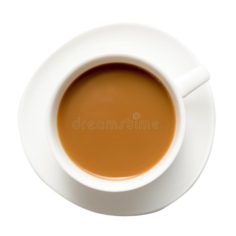 White Cappuccino cup of coffee on a plate isolated on white background. Top view.  stock images